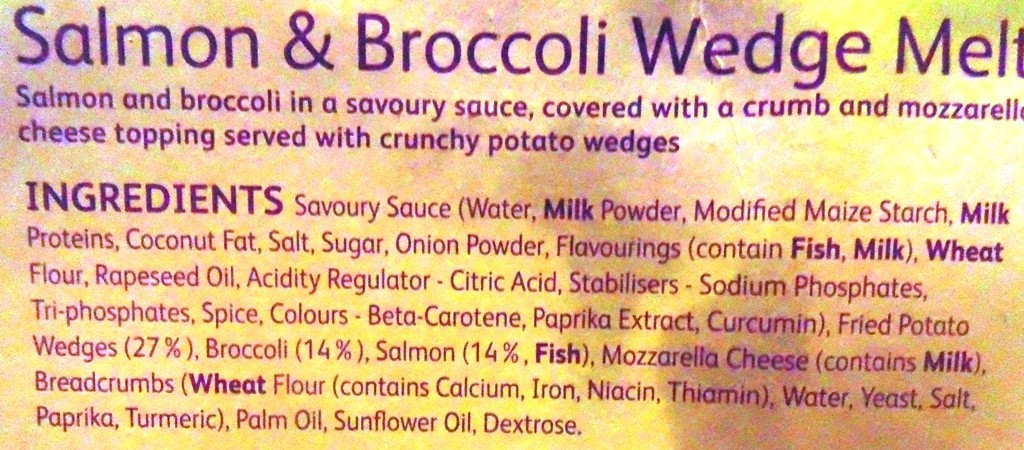 Ingredients for Ready Meals Monday - Weight Watchers Salmon and Broccoli Wedge Melt