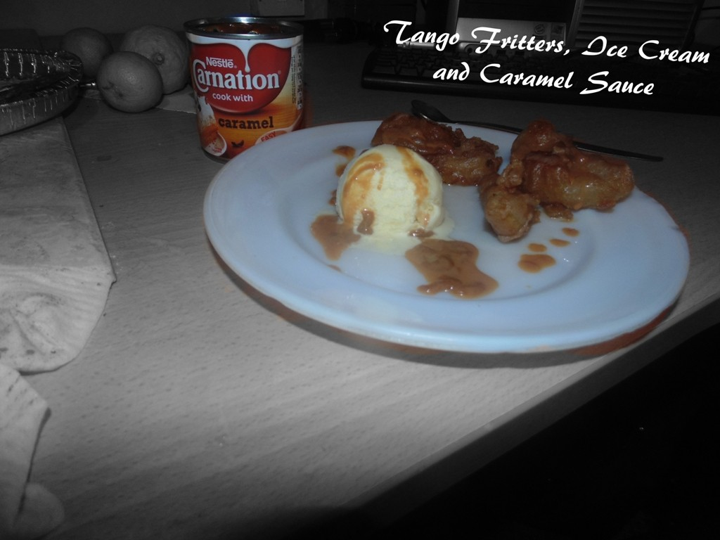 Tango Fritters, Ice Cream and Caramel Sauce Served Ready For Strictly