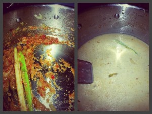 Different Stages of Cooking The Sauce For Dean Edwards Thai Pork Meatball Curry