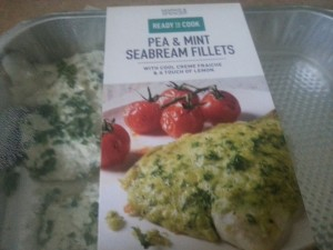 Pea and Mint Sea Bream Fillets (with a cool Crème Fraiche and a touch of lemon)
