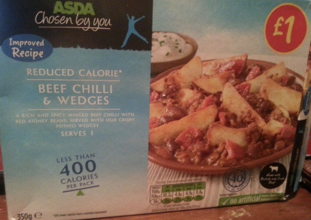 Ready Meal Monday – Asda Beef Chilli and Wedges in it's box!