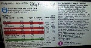 Sainsbury's Belgian Chocolate Soufflés Nutritional Information