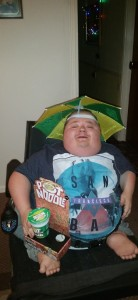 Stuffing Ball Anyone: Me sporting a rather fetching Pot Noodle Umbrella - my prize from snatch bingo!
