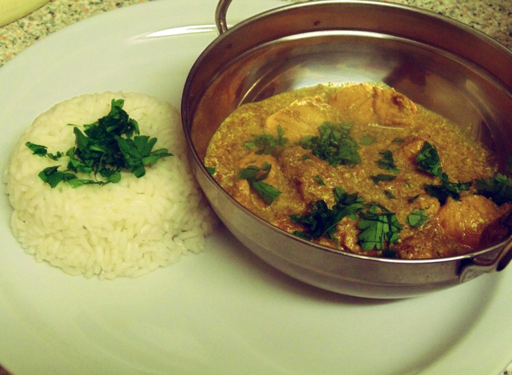 Saira Hamilton's Chicken Bhuna presented with boiled rice and a sprinkle of Parsley