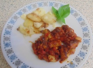 """Schwartz"" Cajun Sausage and Butter Bean Stew served with Sautéed Potatoes and chefy Basil Leaf"