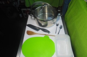 Utensils and other items needed to make the Bolognese Sauce