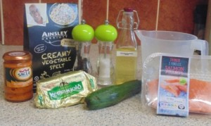 "Ingredients for ""Quick and Easy Mid Week Pan Fried Salmon and Creamy Spelt"""