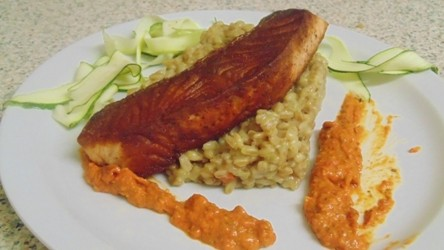 Pan Fried Salmon, Courgette Ribbons, Roasted Red Pepper Pesto and Creamy Spelt