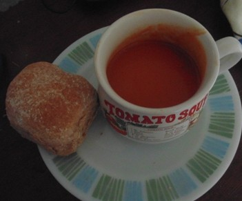 Mediterranean Roasted Red Pepper and Tomato Soup served with a Bread Roll