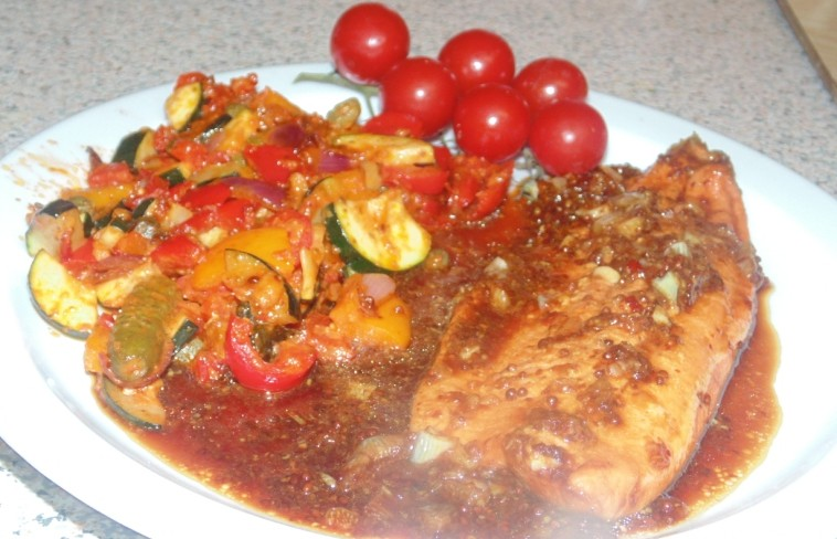 Soy, Chilli and Ginger Trout With A Summer Ragu Served with Vine Cherry Tomatoes