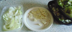 Garlic, Leek and Onion Roughly Chopped