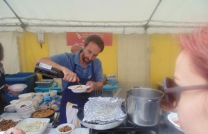 Chef Stephen Terry cooking food for Greg and I at the Aberaeron Fish Festival