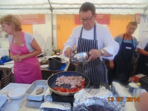 Chef Dudley Newbury from S4C and BBC Wales cooking food for Greg and I