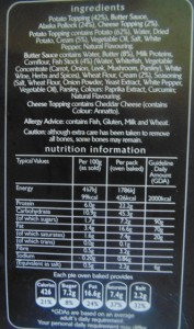 Young's Ocean Pie Ingredients List and the Nutritional Information