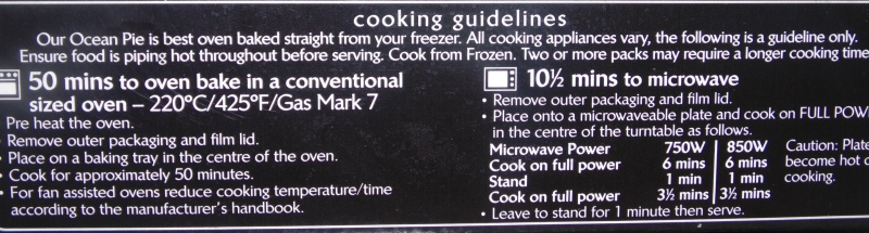 Cooking Instructions for Young's Ocean Pie