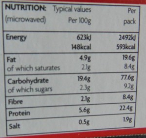 Ready Meal Monday - Nutritional Information For Asda Chicken Curry and Rice