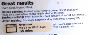 Ready Meal Monday – Sainsbury's Bistro Chicken Cooking Instructions