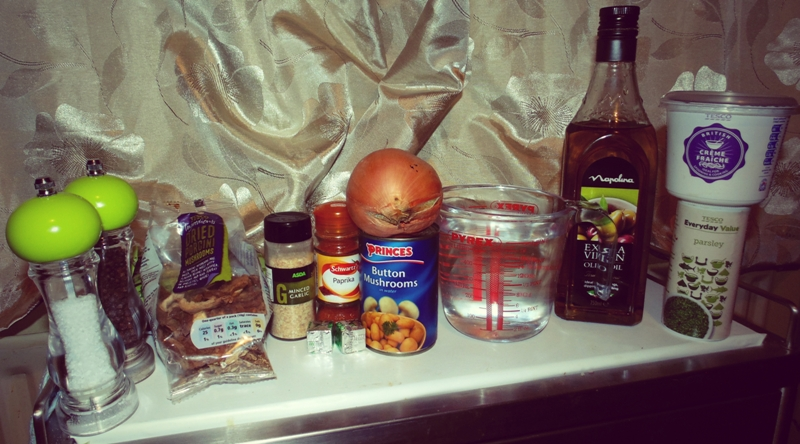 Ingredients For Store Cupboard Mushroom Stroganoff