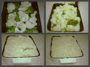 The Different Steps to Assembling Stacey's Brocliflower Cheese Bake