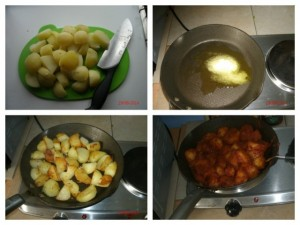 The process of cooking the potatoes for Alice's Mid Week Piri Piri BBQ Chicken and Patatas Bravas