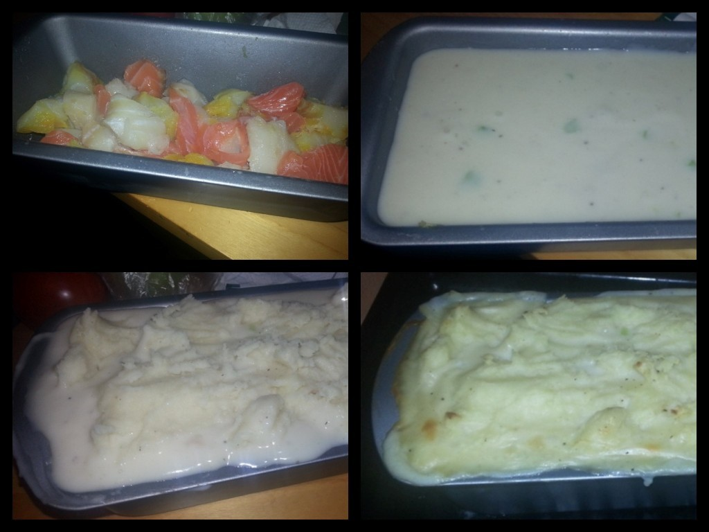 Different Stages of Assembling The Cheat's Fish Pie