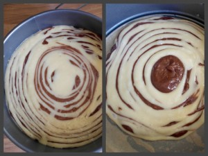 Melanie's Food Adventures – Zebra Cake - Different Stages Of The Layering Process