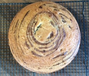 Melanie's Food Adventures – Zebra Cake - On The Cooling, A Top Down View Showing The Layers
