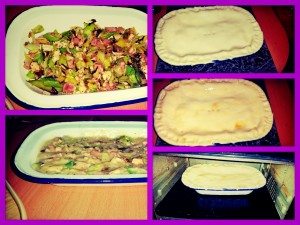 Different Stages of Making The Chicken, Pek, Leek and Sage Leftover Pie