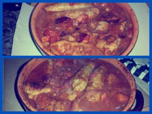 Before and After the Stunning Spiced Sausage Stew has been cooked