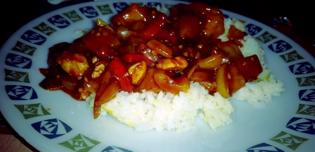 Speedy Sweet and Sour Chicken and Boiled Rice - Plated and Ready To Eat