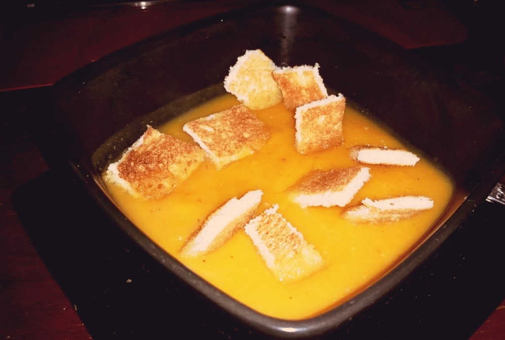 Spiced Butternut Squash Soup served with Toasted Croutons