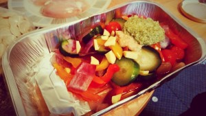 Foil Tray With The Roasted Vegetables, Pesto, Garlic and Ginger For Oven Roasted Chicken Breast with Orecchiette Pasta