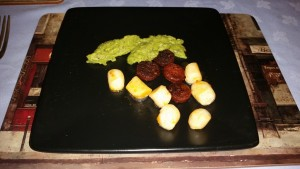 Dinner Party #2 – December 2014 - Starter - Pan Fried Scallops, Pea and Mint Pureé and Chorizo