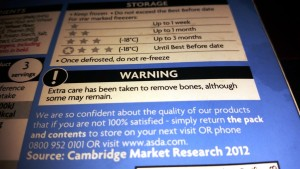 A Bone To Pick With Asda - The Warning On The Package