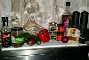 Ingredients for my Pepper and Onion Stir-Fry Thing