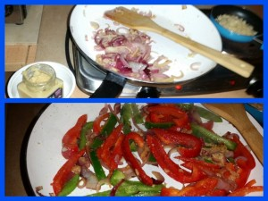 Pepper and Onion Stir-Fry Thing - Frying The Onions and Peppers