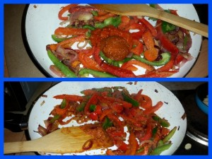 Pepper and Onion Stir-Fry Thing - Adding The Pastes To The Party