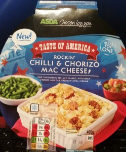 Time-Saving Tuesdays - Asda Rockin Chilli & Chorizo Mac Cheese Front Packaging