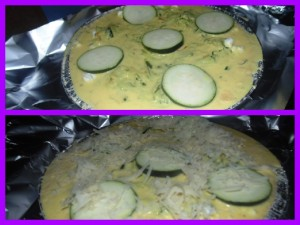 Topping the tart case with the egg mixture and the Courgettes for the Courgette, Saffron and Two Cheese Tart