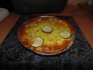 Courgette, Saffron and Two Cheese Tart golden brown and fresh from the oven