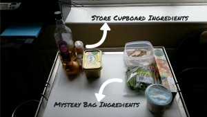 Ingredients for Mystery Bag Meals – Chicken Stroganoff Pie