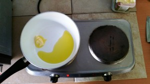 Melting the butter to fry the onions for my Mystery Bag Meals – Chicken Stroganoff Pie