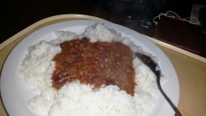 Time-Saving Tuesdays – Tesco Tinned Chilli Con Carne - Served with quick cook boiled rice