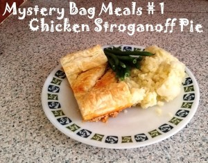 Mystery Bag Meals – Chicken Stroganoff Pie with Green Beans and Mashed Potatoes
