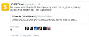 Screenshot of a Twitter Conversation with #SortedFood