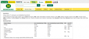 Time-Saving Tuesdays – Morrisons Macaroni Cheese - Nutritional Information and Ingredients from Morrisons website
