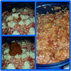 Homemade Microwaveable Tomato Risotto - Adding Caws Preseli Cheese and the Sun-dried Tomato Paste