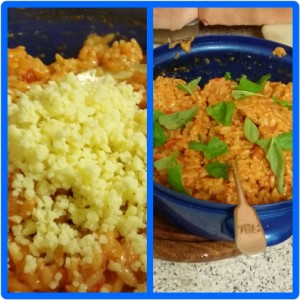Homemade Microwaveable Tomato Risotto - Adding the hard Cheese, Basil and butter before serving