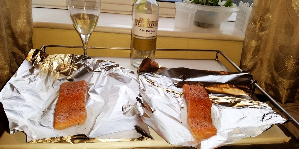 Salsa Steamed Salmon - The salmon on tin foil