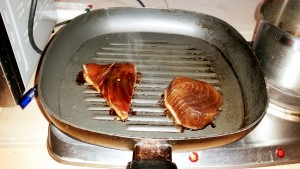 The Tuna on the griddle pan for this week's Strictly Suppers #5 Cha-Cha-Char Grilled Tuna